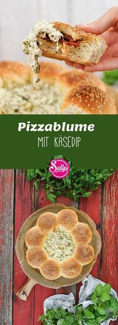 Diese Pizzablume eignet sich hervorragend für jede Party. Sehr lecker mit dem Käsedip!