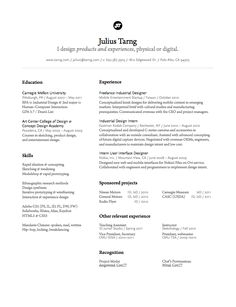 layouts of resumes