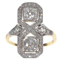 Art Deco Diamond Gold Platinum Engagement Ring 1