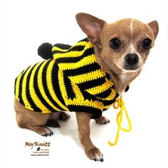 Bumble Bee Costume Dog Crochet Hoodie Sweater Pets by myknitt, $30.00 #handmade #crochet #chihuahua