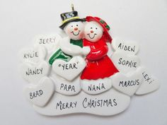 Grandparents Ornament with 9 Grandkids-Personalized Christmas Ornament for Grandparents with 9 Grandchildren-Grandparents Christmas Gift by OrindasOrnaments on Etsy