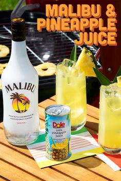 Go from grill master to hostess with the mostest with this easy, Summer cocktail recipe with Malibu Pineapple, Canned Pineapple, Pineapple Juice, Malibu Rum Drinks, Liquor Drinks, Alcoholic Drinks, Party Drinks, Cocktail Drinks, Fun Drinks