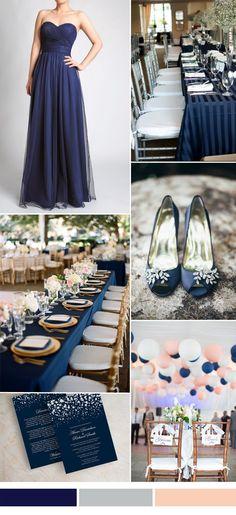 dark navy tulle bridesmaid dresses for fall wedding 2015