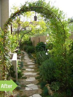 side yard, makeover, after, romantic, charming, grasses, arch, arbor, walkway