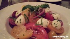 Sabor Divino in Edmonton, AB Tomato and bocconcini salad with red wine vinaigrette Caprese Salad, Red Wine Vinaigrette, Food Items, Seafood, Restaurants, Abs, Tasty, Sea Food, Insalata Caprese