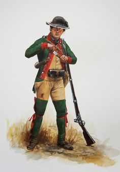 Private of Boucherville's Company of Canadian Volunteers serving with the British during the counter-invasion of America from Canada, Boucherville's was one of several companies of. American Indian Wars, American Civil War, American History, Independence War, American Independence, Military Art, Military History, Military Uniforms, Military Style