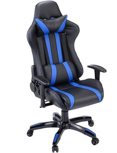 Giantex Gaming Chair Racing Style High Back PU Leather Executive Office Chair with Headrest and Lumbar Support Ergonomic Home Office Computer Desk Task Chair (Black+Blue)