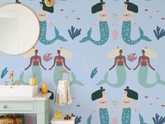 A Mermaid Song wallpaper. Decorate your little loved ones walls with these beautiful mermaids in the ocean. Easy to style with our background colours! Easy do-it-yourself wall fabric. Choose between Peel & Stick Wallpaper or Pasted Wallpaper (Free adhesive). Free shipping above $250 in Australia 🇦🇺 *Background colour can be changed Mermaid Song, Wall Fabric, Removable Wall Murals, Background Colour, Peel And Stick Wallpaper, Mermaids, Colorful Backgrounds, Adhesive, First Love