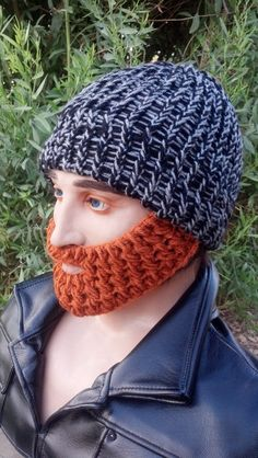 Black and Gray Beard Beanie w/ Detachable by HolyNoggins on Etsy, $35.00