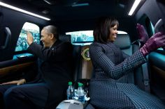 """According to White House Photographer Pete Souza, when he asked the President if he could ride in the limo during the inaugural parade, the President quipped, """"But Michelle and I were planning to make out."""""""