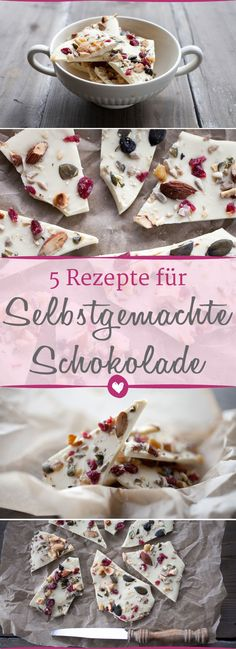Make chocolate yourself: 5 recipes for every taste- Schokolade selber machen: 5 Rezepte für jeden Geschmack The five best recipes to order do it yourself. Chocolates, Recipe To Make Chocolate, Chocolate Recipes, Chocolate Bark, Making Chocolate, Valrhona Chocolate, Chocolate Food, Healthy Dinner Recipes, Vegetarian Recipes