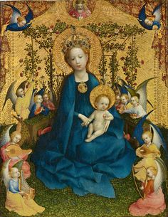 "Painting by Stefan Lochner (c.1400/10-1451), ca 1440, ""Madonna of the Rose Bower"". #Middle_Age"