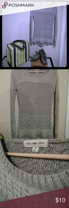 Pink Rose Premium tunic sweater Soft long sleeved tunic sweater. Beautifully detailed patterns. Several shades if gray and some white. Partially see thru so you'll have to wear a Cami or tank. This is sized large but is closer to a medium. Worn with love. Pink Rose Sweaters
