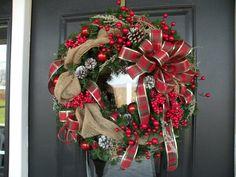 Burlap Christmas Wreath Burlap Holiday Wreath by KathysWreathShop, $79.99