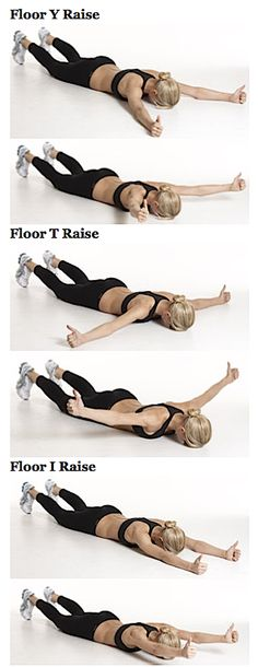 Floor Y-T-I Raises: These three exercises target the muscles of your upper back that stabilize your shoulder blades--particularly the trapezius. They also strengthen your shoulder muscles in every direction.
