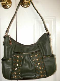 Kathy Van Zeeland Zip Top Hobo Bag With Jewel And Stud Accents Green Ebay