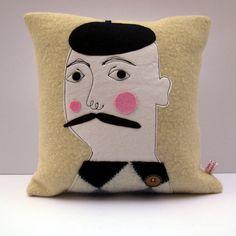 Monsieur Cushion by samanthastas on Etsy, £27.00
