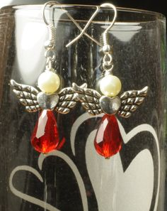Valentines Day Earrings - Angel and Heart. $9.00, via Etsy.