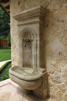 Fountain on the wall. Fountain on the wall. Outdoor Wall Fountains, Garden Fountains, Outdoor Walls, Outdoor Decor, Outdoor Landscaping, Backyard Patio, Water Fountain Design, Garden Sink, Backyard Water Feature