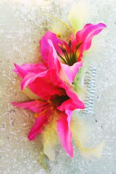 Purple Lily silk Hair comb with Feathers.