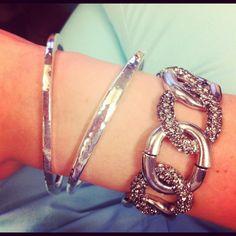 arm party - Oversize Pave Link Stretch Bracelet & Textured Sculpted Bangle Set    http://chloeandisabel.com/products/B017/oversize-pave-link-stretch-bracelet