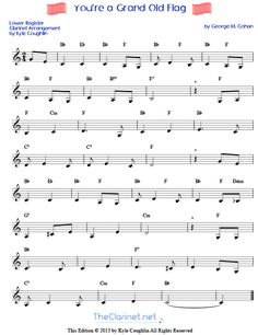 Free, printable sheet music for You're a Grand Old Flag, arranged specifically for the clarinet. Lower and upper register versions are available. Church Songs, Church Music, Chart Generator, Song Search, Clarinet Sheet Music, Yankee Doodle Dandy, Best Flags, Party Songs, More Words