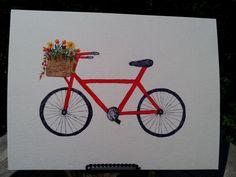 Original Painting-Watercolor-Bicycle art