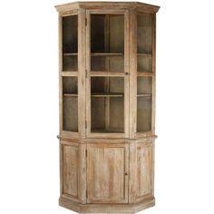 Distressed Oak Corner Cabinet ($2,895) ❤ liked on Polyvore