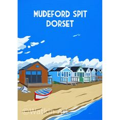 Vintage inspired print of Mudeford Spit with beach huts and rowing boat Bournemouth Beach, Lulworth Cove, Posters Uk, Nostalgic Art, Tourism Poster, Vintage Travel Posters, Illustrations, Beach Pictures, Digital Prints