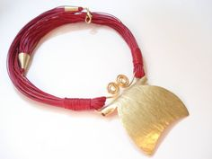 Red Multi Strand Bronze Hammered Necklace Metalwork by AnnaRecycle