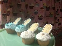Fancy shoe cupcakes Shoe Cupcakes, Cupcake Cakes, Cinderella Party, Fancy Shoes, 4th Birthday Parties, Cute Food, Cup Cakes, Princess Party, Tarts