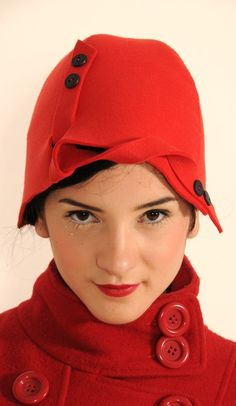 Heres a totally handmade one-of-a-kind hat in bright red that will just put you on the spot on cold winter days…  Made of heavy felt, it