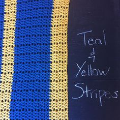 Teal and Yellow Striped Afghan by KristaVoy on Etsy https://www.etsy.com/listing/224451752/teal-and-yellow-striped-afghan