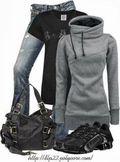 Sportwear - combination of grey jacket,black t-shirt,blur jeans,leather black bag and black trainers