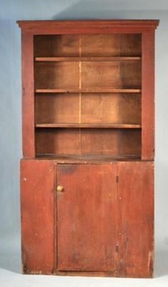 Red Painted Country Open Wall Cupboard