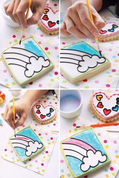 DIY Tutorial: Paint by Party Cookies {Rainbow Party} cookies by http://www.flourishsweetshop.com/