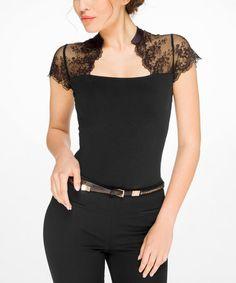 Look at this #zulilyfind! Black Cap-Sleeve Lace Boatneck Bodysuit #zulilyfinds