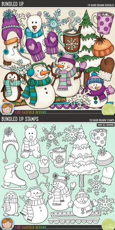 Steaming hot cocoa, snowball fights, warm woollen mittens and carrot-nosed snowmen – that's what this pack is made of! Contains the following hand-drawn wintery doodles: 2 doodle strips, 2 wooly hats, 2 mugs of hot chocolate, steam, mitten, pair of mittens, penguin, polar bear, ice skate, 3 snowflakes, 3 snowmen and snowy tree.