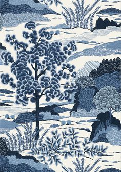 DAINTREE, Blue on White, T85044, Collection Greenwood from Thibaut