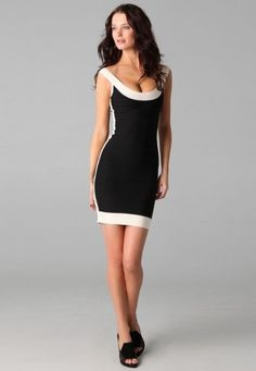 Sexy Scoop Bandage Dress with Patch Work #nightclub