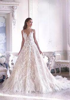 37f9f0d4e471f3 Platinum by Demetrios DP387 - Fleur A-Line Wedding Dress Bruids Trouwjurken