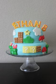 For my son's 8th birthday, he wanted to have a Super Mario Brothers' party.  I made him this fun cake!