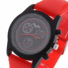 [$5.49] Unisex Quartz Wristwatch Wrist Watch Silicone Band Black Dial Red Mark Casual