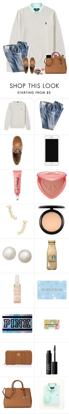 """Happy Sunday y'all!"" by hopemarlee ❤ liked on Polyvore featuring Sperry, Too Faced Cosmetics, Kat Von D, Kendra Scott, MAC Cosmetics, Belle de Mer, Victoria's Secret, Tory Burch, NARS Cosmetics and Michael Kors"