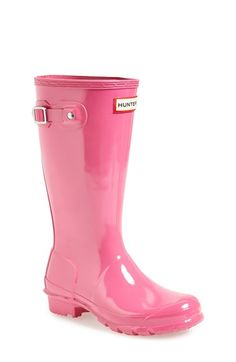 Girl's Hunter 'Original Gloss' Rain Boot, Size 3 M - Pink Fuchsia 3 M by: Hunter @Nordstrom