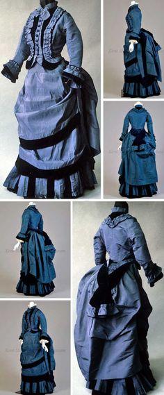 Dress, American (attributed), 1870-79. Deep blue silk taffeta and velvet. Standing collar, inset velvet and taffeta ruffles at front. Skirt: front pleating, velvet trim, bustle back. Kent State Univ.