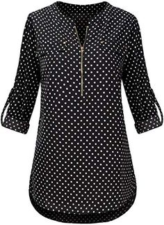 Amazing offer on Faddare Womens Casual Blouse Zip Floral Top Long Sleeve Shirts Chiffon V-Neck Tunic Blouse online Thetophitsseller Ankara Skirt And Blouse, Tunic Blouse, Saree Blouse, Tunic Tops, Readymade Blouses Online, Black Silk Camisole, Grace Clothing, Floral Tops, Chiffon Shirt