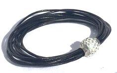Armband Wachsschnur schwarz, Strass, Magnetverschluss