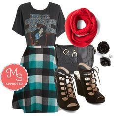 In this outfit: So Plaid You're Mine Skirt, Chill Out on the Town Scarf in Red, Ode to The Boss Tee, Twist of Licorice Bag, Retro Rosie Earrings in Black, That's Haute Bootie #fall #plaid #theboss #scarf #graphictee #casual #ootd