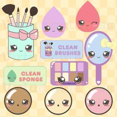 Kawaii Makeup Clipart - Cute Makeup Brushes, Beauty Products, Digital Stickers, Planner Stickers, Girly, Free Commercial and Personal Use